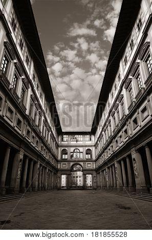 Uffizi Gallery in Piazzale degli Uffizi in Florence Italy in BW.