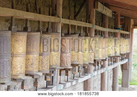 Langmusi, China - Sep 25 2014: Mani Wheel At Kirti Gompa (dacangnama Ge'erdisi) . A Famous Lamasery