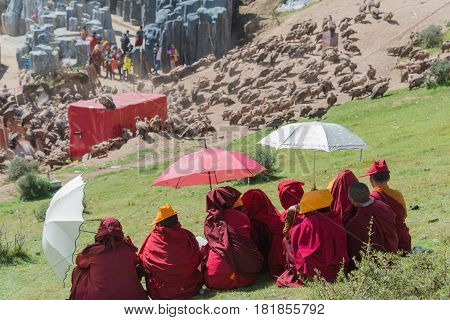 SICHUAN CHINA - SEP 20 2014: Sky burial site at Larung Gar(Larung Five Sciences Buddhist Academy). a famous Lamasery in Seda Sichuan China.