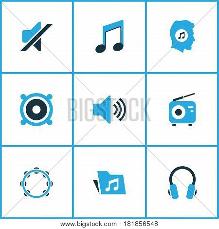 Multimedia Colored Icons Set. Collection Of Headset, Note, Music Lover And Other Elements. Also Includes Symbols Such As Fm, Music, Radio.