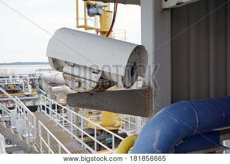 Close Up Shot Of An Explosion Proof Security Camera At A Jetty
