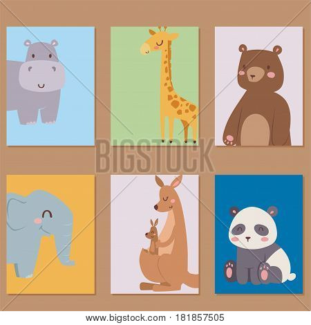 Cute zoo cartoon animals cards funny wildlife learn cute language and tropical nature safari mammal jungle tall characters vector illustration. Nature wild study africa savanna.