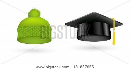 Different kind of fashion green hat modern elegance graduation cap and garment textile accessories top classic clothes vector illustration. Personal design style headdress clothing.