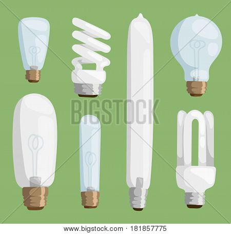 Cartoon lamps electric and bright cartoon interior lamps flat vector. Cartoon lamps light bulb electricity design flat vector illustration isolated on green background.