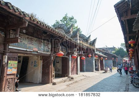 Sichuan, China - Sep 15 2014: Lizhou Ancient Town. Lizhou Is Chinese Historical And Cultural Town, L