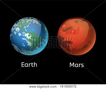 High quality mars planet galaxy astronomy and earth universe science globe cosmos orbit star vector illustration. Astrology planetary world exploration journey scientific surface.
