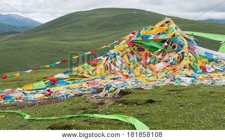 Litang, China - Jul 18 2014: Prayer Flag At Litang Town. A Famous Tibetan Town Of Litang, Sichuan, C