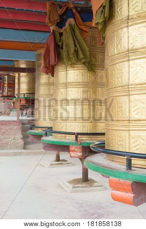 Luhuo, China - Sep 18 2014: Mani Wheel At Shouling Temple. A Famous Lamasery In Luhuo, Sichuan, Chin