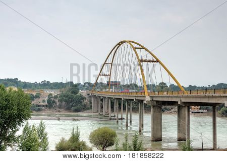 Guide, China - Jun 27 2014: The Yellow River Big Bridge(huanghe Qing Daqiao). A Famous Landmark In T