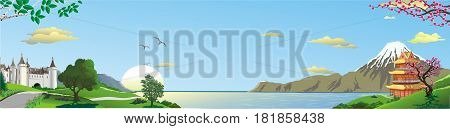 A Russian fortress and a Japanese pagoda. Mountains on the coast. The cherry blossoms. Sea Strait. Panorama. Landscape. Vector illustration