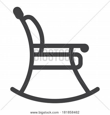 Rocking chair line icon, Furniture and interior element, vector graphics, a linear pattern on a white background, eps 10.