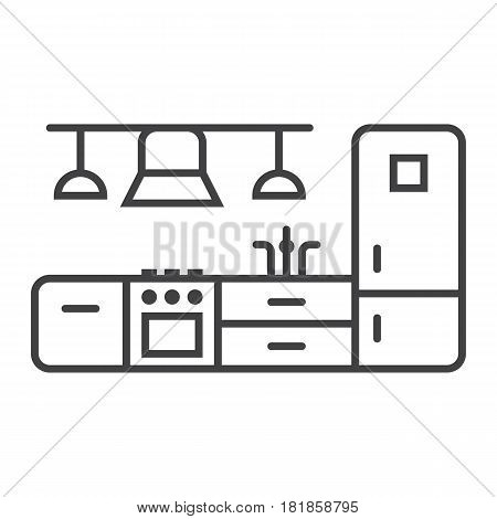 Kitchen furniture line icon, Furniture and interior element, vector graphics, a linear pattern on a white background, eps 10.