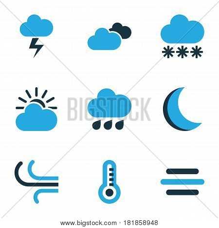 Climate Colored Icons Set. Collection Of Overcast, Breeze, Cloudy Sky And Other Elements. Also Includes Symbols Such As Temperature, Cloudy, Moonlight.