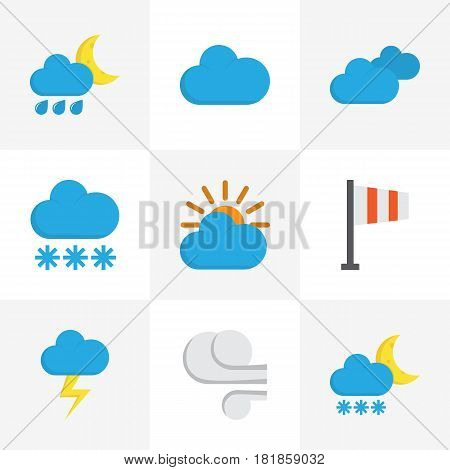 Weather Flat Icons Set. Collection Of Snow, Cloud, Storm And Other Elements. Also Includes Symbols Such As Banner, Sun, Storm.