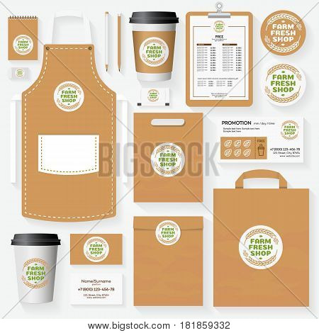 Farm fresh shop corporate identity template for use organic market, natural product, vegan shop, healthy food store, vegetarian cafe. Set of card, flyer, menu, package, uniform. Vector Illustration
