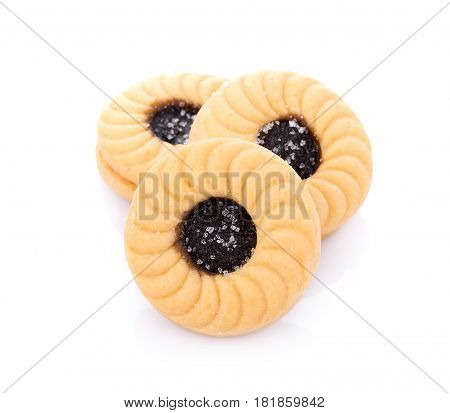 Sandwich biscuits with Blueberries on white background