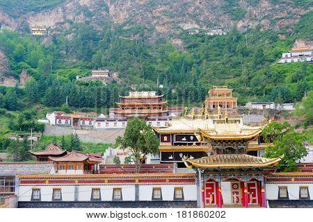 Huzhu, China - Jul 7 2014: Gonlung Champa Ling(youningsi). A Famous Monastery In Huzhu, Qinghai, Chi