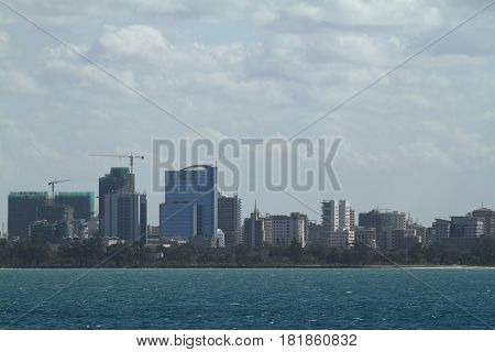 The skyline of Dar Es Salaam in Tanzania in smog