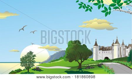 Landscape - road to the fortress on the coast. Mountains on the coast. A sea shore. Green trees on the hill. Vector illustration