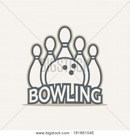 Bowling club logo vector in vintage style. Design elements labels