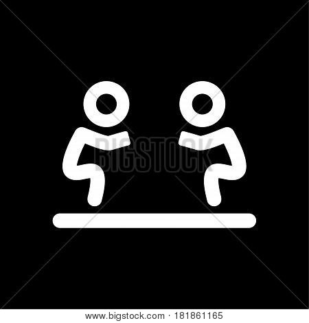 Fight icon isolated. Human silhouettes fighting on black background. Eps 10