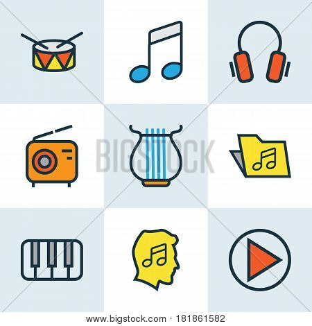 Multimedia Colored Outlines Set. Collection Of Sound, Keys, Template And Other Elements. Also Includes Symbols Such As Folder, Harp, On.