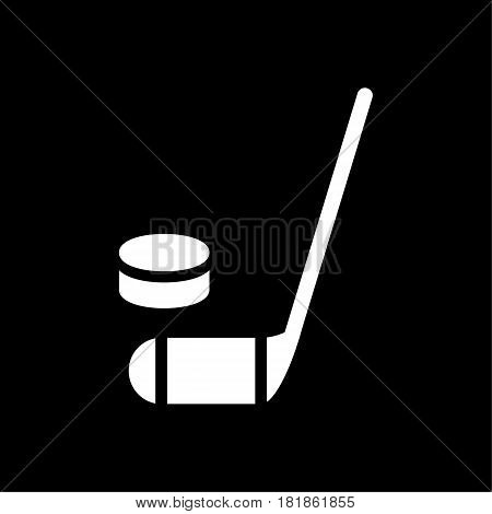 hockey stick and puck icon. Simple filled hockey stick and puck vector icon. On black background. Eps 10