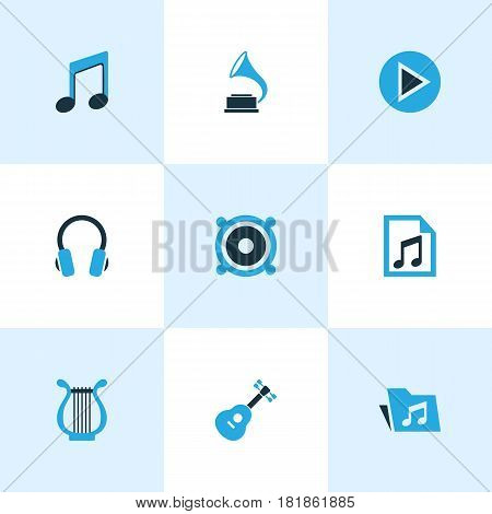 Audio Colored Icons Set. Collection Of Guitar, Headset, Play And Other Elements. Also Includes Symbols Such As Play, Megaphone, File.