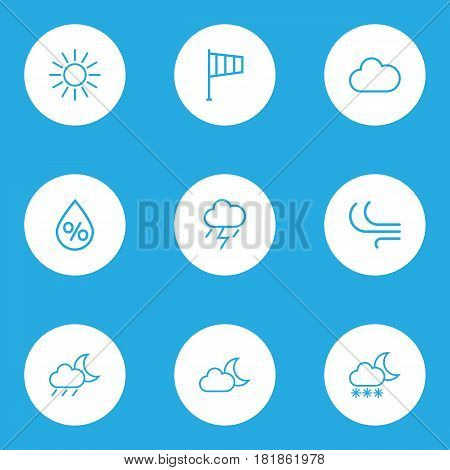 Nature Outlines Set. Collection Of Cloud, Drop, Sun And Other Elements. Also Includes Symbols Such As Moon, Blizzard, Sunny.