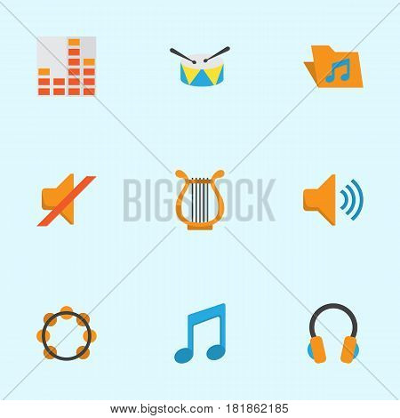 Music Flat Icons Set. Collection Of Controlling, Ear Muffs, Band Elements. Also Includes Symbols Such As Band, Harp, Volume.