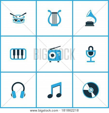 Music Colored Icons Set. Collection Of Microphone, Vinyl, Headset And Other Elements. Also Includes Symbols Such As Barrel, Instrument, Note.