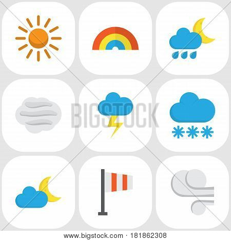 Weather Flat Icons Set. Collection Of The Flash, Hailstones, Bow And Other Elements. Also Includes Symbols Such As Storm, Hot, Lightning.