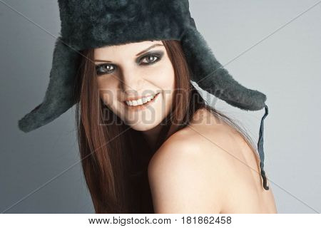 Pretty Stylish Sexy Girl In Winter Hat