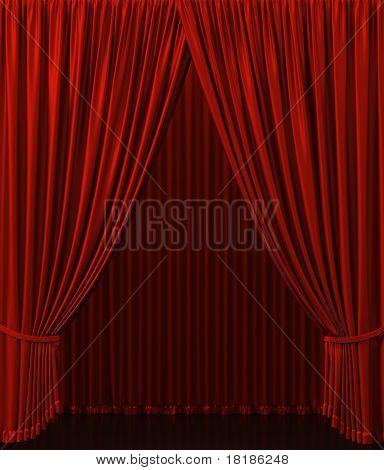 Red curtain on the stage