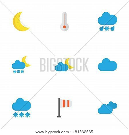 Weather Flat Icons Set. Collection Of Drizzles, Crescent, Frosty And Other Elements. Also Includes Symbols Such As Sun, Overcast, Frost.