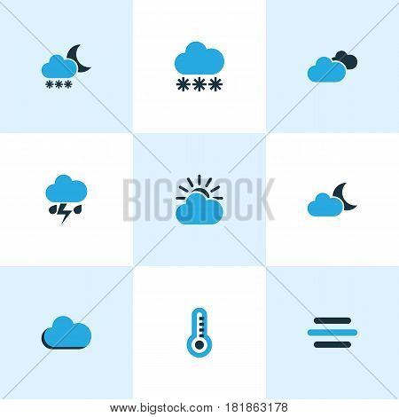 Climate Colored Icons Set. Collection Of Thunderstorm, Moonshine, Blizzard And Other Elements. Also Includes Symbols Such As Snowfall, Lightning, Storm.