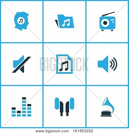 Multimedia Colored Icons Set. Collection Of Mixer, Folder, Radio And Other Elements. Also Includes Symbols Such As File, Dossier, Earmuff.