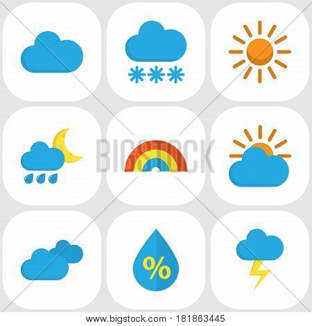 Meteorology Flat Icons Set. Collection Of Sun, Sunny, The Flash And Other Elements. Also Includes Symbols Such As Clouds, Drip, Rainbow.