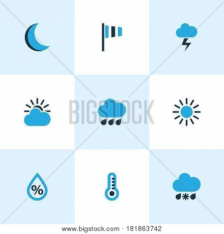 Nature Colored Icons Set. Collection Of Sunny, Thermometer, Rainfall And Other Elements. Also Includes Symbols Such As Rain, Sunny, Forecast.