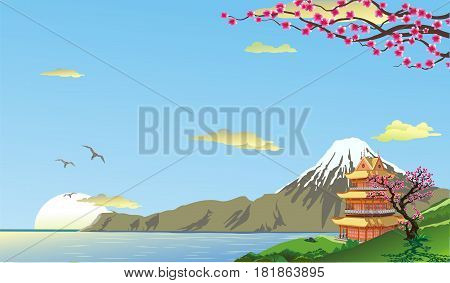 Landscape pagoda on the coast. Mount Fuji. A sea shore. The cherry blossoms on the hill. Vector illustration