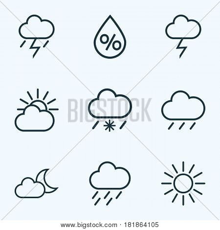 Climate Outlines Set. Collection Of Snowy Raining, Rain, Lightning And Other Elements. Also Includes Symbols Such As Humidity, Sun, Storm.