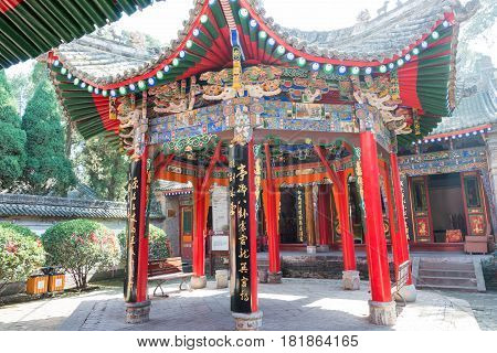Shaanxi, China - Oct 21 2014: Wuzhangyuan Zhuge Liang Temple. A Famous Ancient Battle Field(april–au