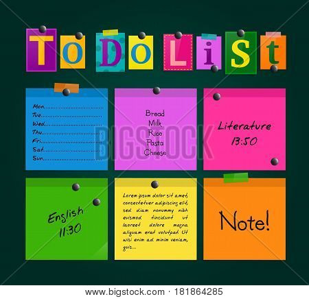 To do list from letters and colorful sticky notes attached to a blackboard with magnets.