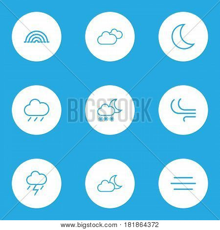 Climate Outlines Set. Collection Of Breeze, Moon, Lightning And Other Elements. Also Includes Symbols Such As Blizzard, Weather, Variegation.