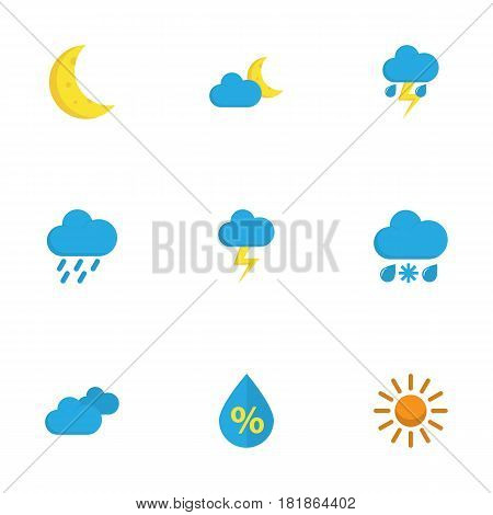 Weather Flat Icons Set. Collection Of Drizzles, Moon, Lightning And Other Elements. Also Includes Symbols Such As Demilune, Hot, Lightning.