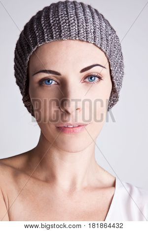 Portrait of Stylish Caucasian Woman with Hat