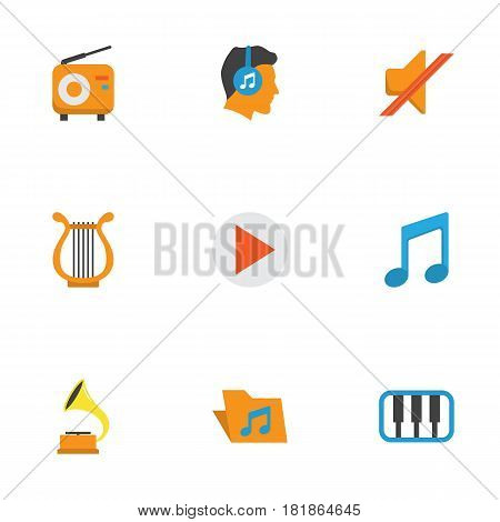 Multimedia Flat Icons Set. Collection Of Portfolio, Button, Broadcasting And Other Elements. Also Includes Symbols Such As Musical, Male, Tone.