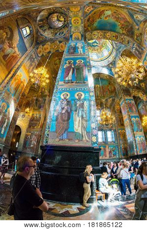 Church Of The Savior On Spilled Blood. Magnificent Frescoes Of Temple.
