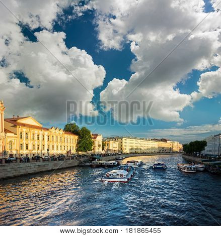 Busy Traffic Of Boats On The Fontanka River, St. Petersburg, Russia.