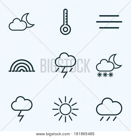 Meteorology Outlines Set. Collection Of Sun, Stormy, Lightning And Other Elements. Also Includes Symbols Such As Thunderstorm, Sun, Thermometer.